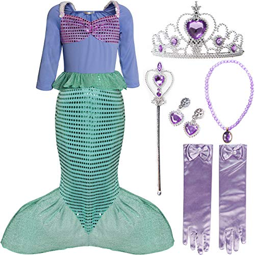 Little Mermaid Character Costumes (FUNNA Ariel Princess Mermaid Costume Dress Up for Little Girls Halloween Birthday Party, with Accessories,)