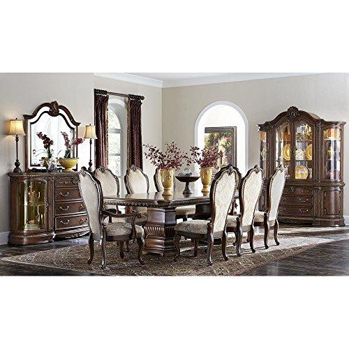 Furniture Aico Dining Room - Aico Amini Bella Veneto Table, 2 Arm, 6 Side Chairs in Cognac