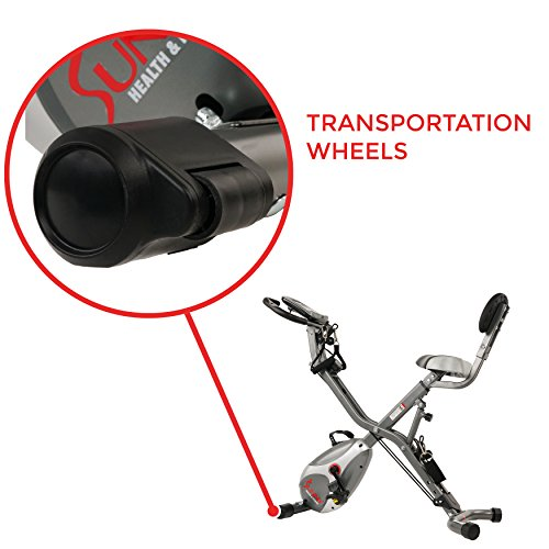 Sunny Health & Fitness Foldable Semi Recumbent Magnetic Upright Exercise Bike w/Pulse Rate Monitoring, Adjustable Arm Resistance Bands and LCD Monitor - SF-B2710 by Sunny Health & Fitness (Image #8)