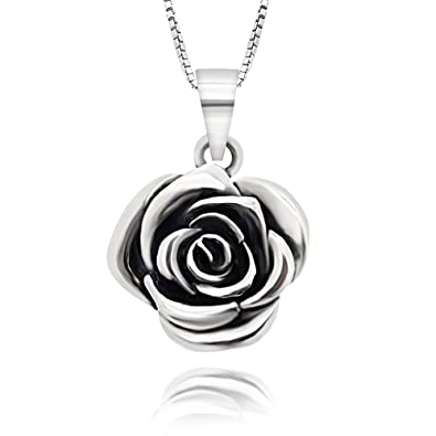 d3d79f9a01ab5 925 Sterling Silver Vintage Rose Flower Pendant Necklace, 18