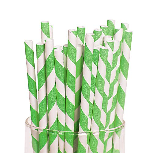 Lime Green Striped Straws (24 Pack) 7 3/4