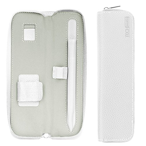 - TechMatte Premium Leather Carrying Case Designed for Apple Pencil (1st and 2nd Generation) and Accessories-White