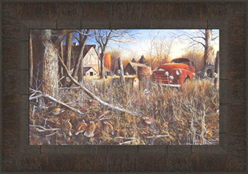 Back Forty Bobwhites by Jim Hansel 11x15 Quail Covey Birds Farm Barn Old Vintage Truck Framed Art Print Picture