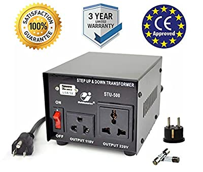 Goldsource 500W Step Up & Step Down Voltage Transformer Converter, STU-500 Heavy Duty Continuous AC 110-120V to 220-240V Converter with US Standard & Universal AC Outlets and DC 5V USB Port, 500 Watt