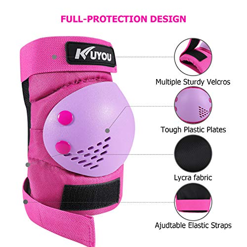 Knee /& Elbow Pads With Wrist Guards  Youth Pink Safety Protection Scooter
