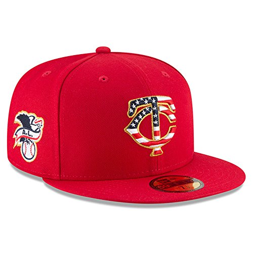 New Era Minnesota Twins 2018 July 4th Stars and Stripes 59FIFTY On Field Fitted Hat 7 3/8