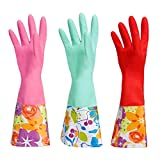 #6: Dishwashing Rubber Gloves, Aixingyun Non-Slip Household Laundry Kitchen Cleaning Gloves, Antibacterial Reusable PU Waterproof Latex Gloves (Large, 3-Pack)