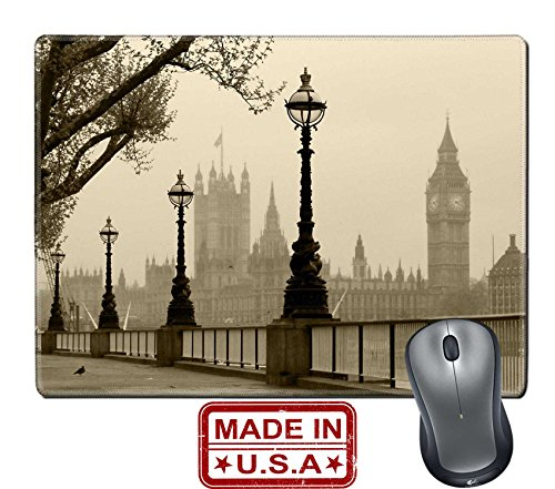 """Liili Natural Rubber Mouse Pad/Mat with Stitched Edges 9.8"""" x 7.9"""" Big Ben Houses of Parliament London in fog IMAGE ID 13547628"""