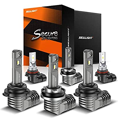 SEALIGHT H11/H9/H8 Low Beam 9005/HB3 High Beam LED Headlight Bulbs 9140/9145/H10 Fog Lights Combo 1 by 1 Mini Design with Fan 6000K Cool White CSP Chips Lighting Replacement: Automotive