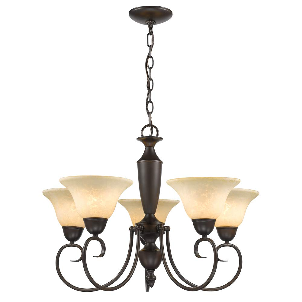 Golden Lighting 1395 RBZ Centennial 5 Light Chandelier, 25-1 2-Inch W by 18-Inch H, Rubbed Bronze
