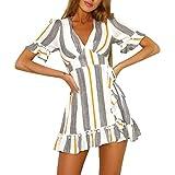 Mini Dresses, KESEELY Women Striped Printed High Waist Dress Sexy Deep V-Neck Patchwork Dress (XL, Yellow)