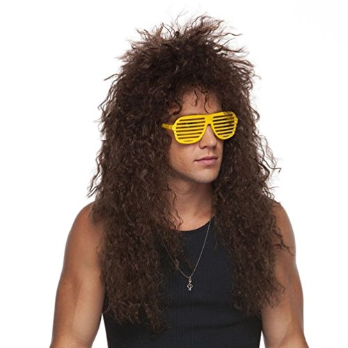Heavy Metal 80's Hair Bands Brown Curly Adult Costume Wig Rock Star