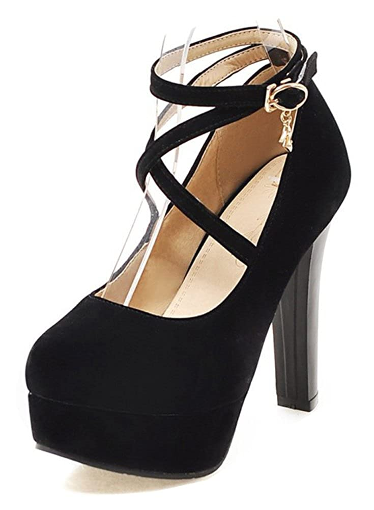Aisun Womens Fashion Buckled Dressy Strappy Round Toe High Chunky Heel Platform Pumps Shoes with Ankle Strap
