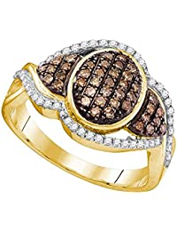 Oval Brown Diamond Cocktail Ring Solid 10k Yellow Gold Fashion Band Chocolate Round Pave Cluster 1/2 ctw