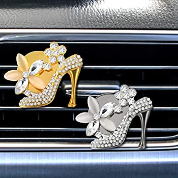 2 Pieces Car Air Vent Clip Charms Bling Car Decoration, Crystal High Heel Shoe Car Interior Accessory, Women Fashion Car Decoration Charms, Bling Rhinestone Car Accessories