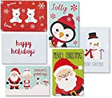 Juvale 48 Pack Envelopes - Assorted Holiday Christmas Greeting Cards - Festive Classic Character Designs: Penguin, Snowman, Santa, Polar Bears, Snowflakes - Multicolor - 4 x 6 Inches