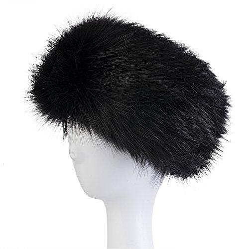 Dikoaina Womens Faux Fur Headband Winter Earwarmer Earmuff Hat Ski (Black)