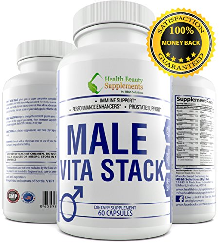 * MALE VITA STACK * With Testosterone Booster, Prostate Complex, Libido Booster For Men, Energy & Focus Matrix And Daily Vitamin Complex, Best One Daily Multivitamin – With Full Vitamin B Complex