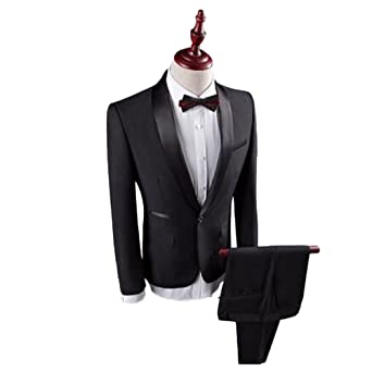 Botong Black Shawl Blue Wedding Suits For Men Groom Tuxedos 2 Pieces