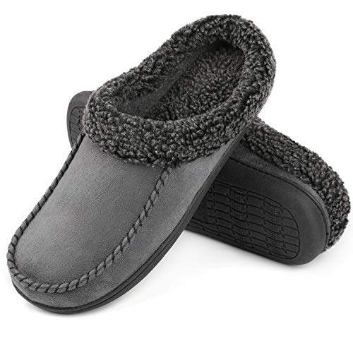 ULTRAIDEAS Men's Cozy Memory Foam Moccasin Suede Slippers with Fuzzy Plush Wool-Like Lining, Slip on Mules Clogs House Shoes with Indoor Outdoor Anti-Skid Rubber Sole Dark Gray