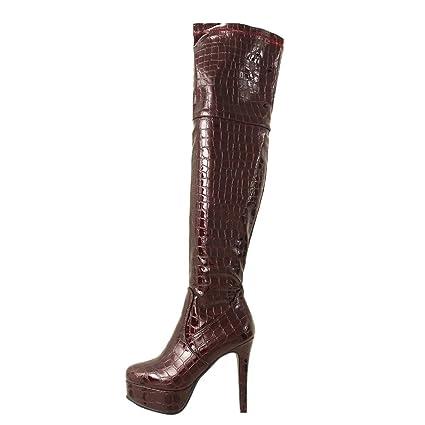 LuckyGirls Botas Muslo Mujer Botines de Charol Serpiente Patrón Zapatos de Tacón Zapatillas 11.5cm