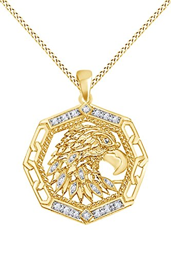 Round White Natural Diamond Accent Men's Eagle Pendant In 10k Solid Yellow Gold (0.09 cttw)
