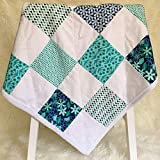 Minky Baby Blanket Shower Gift Handmade for New Mom in Blue and White