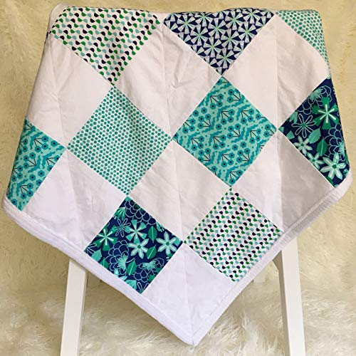 Minky Baby Blanket Shower Gift Handmade for New Mom in Blue and White by The Best Seamstress