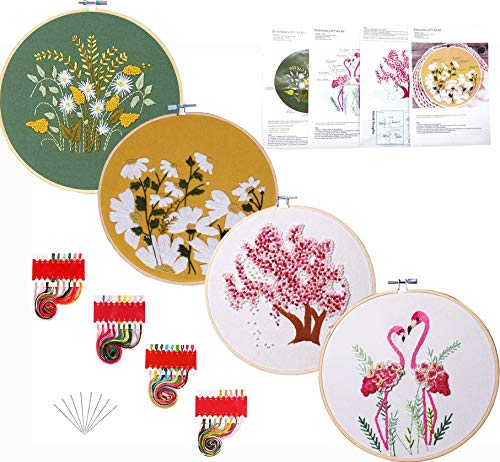 Kakeah 4 Pack Full Range of Stamped Embroidery Starter Kit with Pattern and Instructions, Including Embroidery Cloth with Pattern,Plastic Embroidery Kits