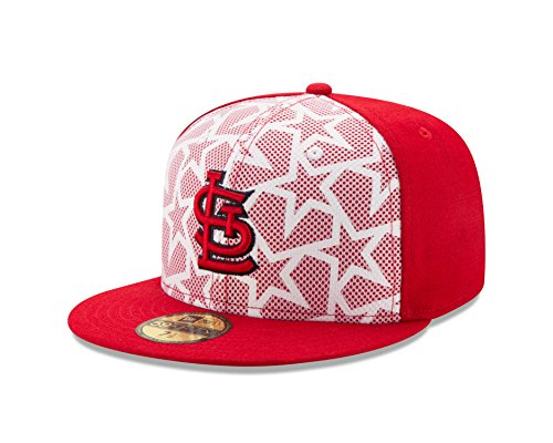 New Era MLB St. Louis Cardinals Men's 2016 Stars & Stripes 59Fifty Fitted Cap, Size 7 1/2, Scarlet