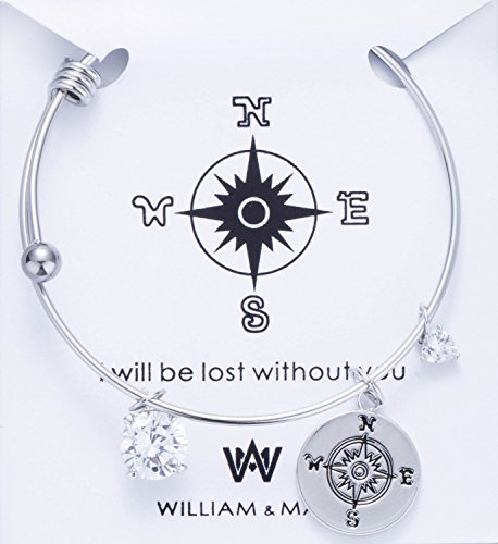"""Adjustable Wire Blank Bangle Bracelet Easy to add pendants for DIY Jewelry Making with W&M Compass Charm Bracelet reminder """"I WILL BE LOST WITHOUT YOU"""" Perfect Gift"""