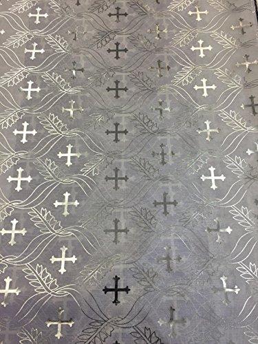 Satin Foil Silver Cross Design (White/Silver) (60 in.)Fabric Sold By The (Silver Foil Cross)