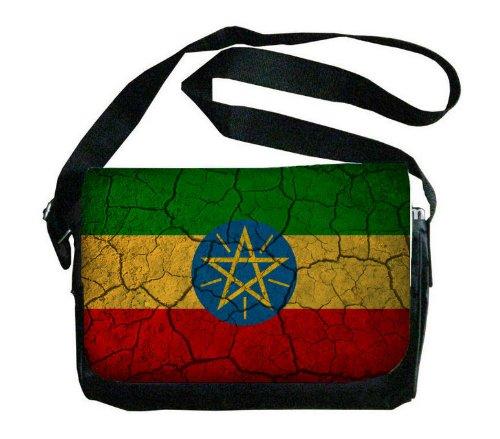 Ethiopia Flag Crackledデザインメッセンジャーバッグ   B00FMFKLNE