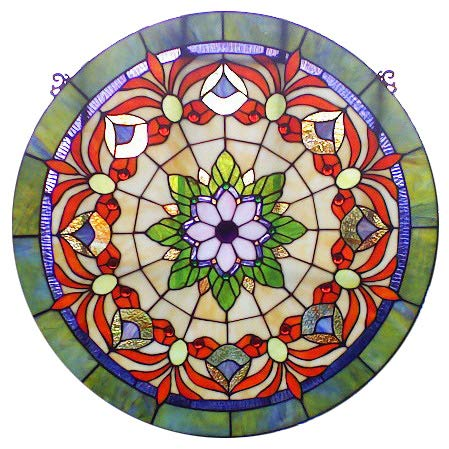Yogoart 24 Inch Big Size Round Stained Glass Goldfish Art Window Panel for Living Room