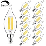 Dimmable E12 LED Candelabra Bulbs 60W Equivalent, 6W LED Chandelier Light Bulbs, 5000K Daylight White 600LM CA11 Flame Tip Vintage LED Filament Candle Bulb with Decorative Candelabra Base, Pack of 12