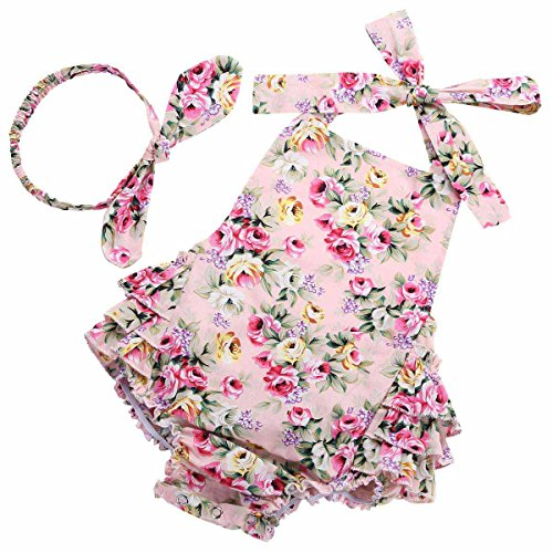 PrinceSasa Baby Girls Ruffles Romper Summer Clothes,Pink Floral,7-12 Months(Size M)