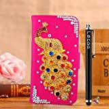 Locaa(TM) For SONY Xperia Z Ultra XL39h 3D Bling Peacock Case + Phone stylus + Anti-dust ear plug Deluxe Luxury Crystal Pearl Diamond Rhinestone eye-catching Beautiful Leather Retro Support bumper Cover Card Holder Wallet Cases [Peacock Series] Pink case - Colorful peacock
