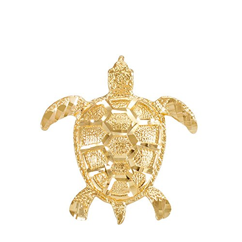 - Textured 14k Yellow Gold Good Luck Sea Turtle Charm Pendant