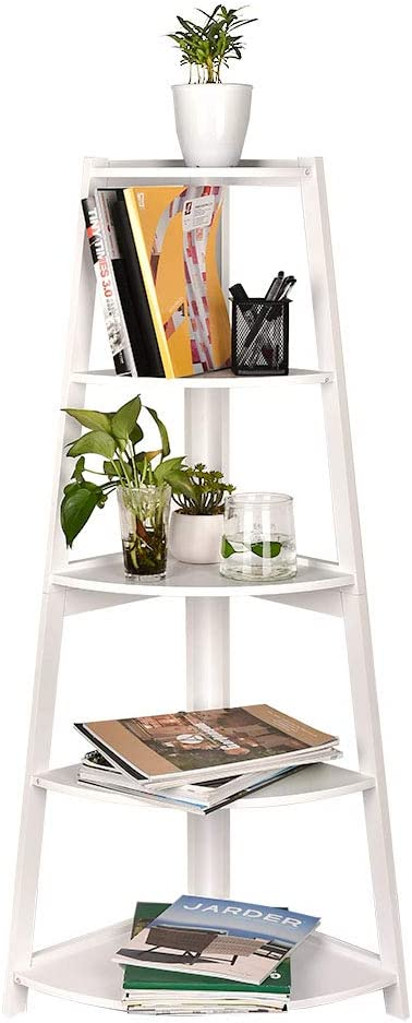GIODIR Corner Ladder Shelf, 5-Tier Bookcase Accent Etagere, A-Shaped Display Organizer Plant Stand Storage Rack, Wood Look Frame Furniture for Living Room, Bathroom, Bedroom, Home Office (White)