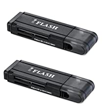[2 Pack] iFlash USB 3.0 Dual Slot MicroSD - MicroSDHC - MicroSDXC - SDHC - SDXC Card Reader / Writer -- support SanDisk Kingston 256GB 128GB 64GB 32GB UHS-I Micro SDXC SDHC , Ultra / Extreme Speed