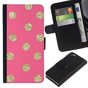 KLONGSHOP // Tirón de la caja Cartera de cuero con ranuras para tarjetas - Patrón Oro Peach Lunares - Apple Iphone 6 //