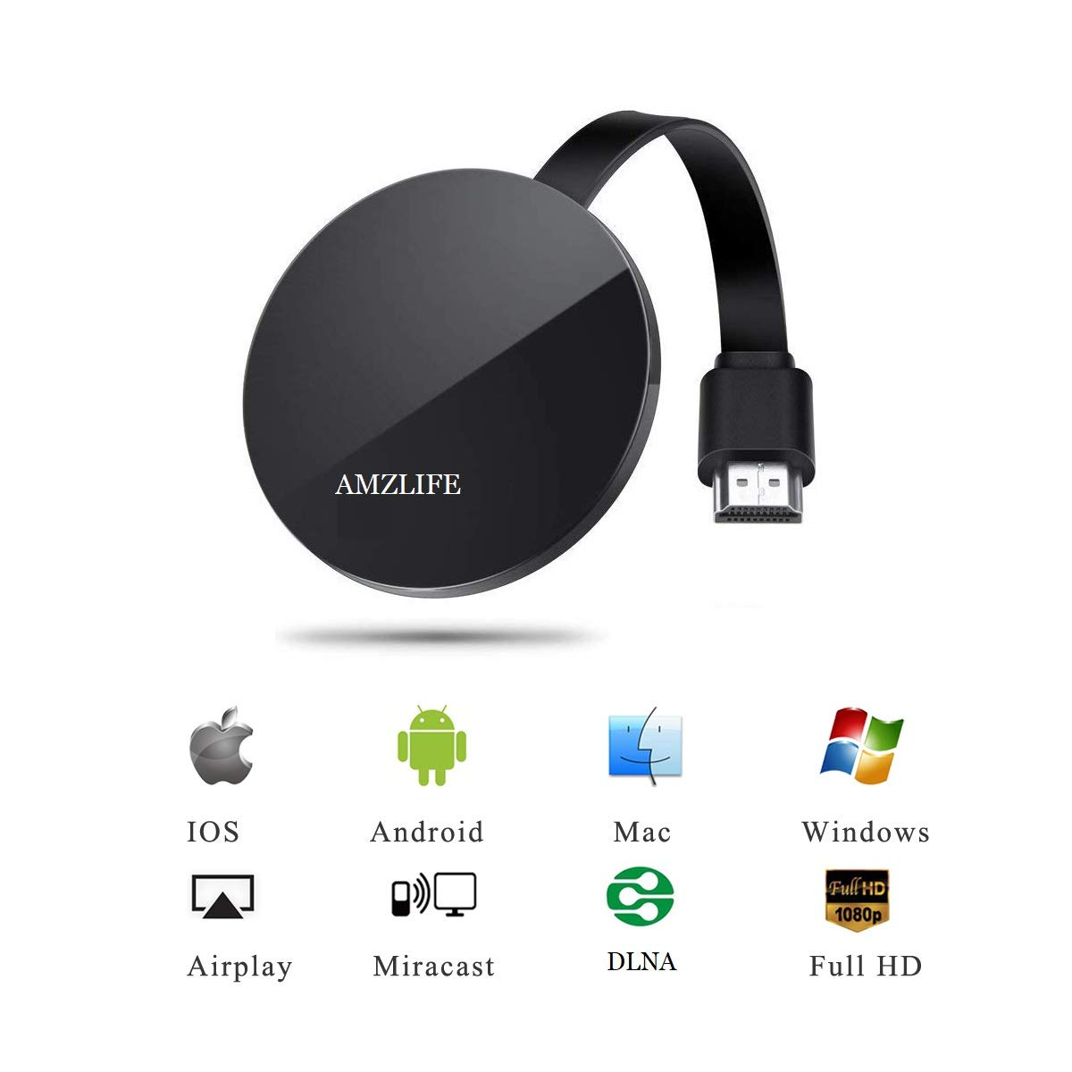 AMZLIFE Wireless Display Dongle WiFi Portable Display Receiver 1080P Mini Receiver Sharing HD Video HDMI Miracast Dongle Compatible with iOS iPhone iPad/Mac/Android Smartphones/Windows/TV/Laptop