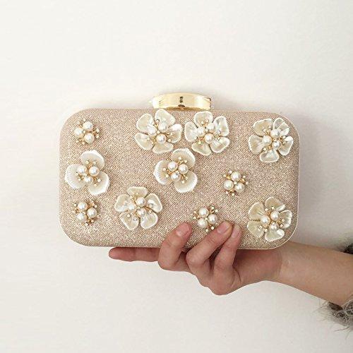 sacs de Champagne dîner femmes pour fleurs perle travers color à le en pente paillettes à sac mariée main Fleurs perle sac de BExRw4A4