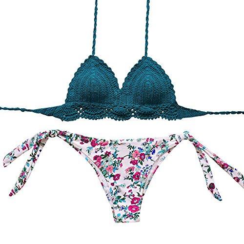 Sexybody Women's Handmade Knitted Crochet Bikini Set Brazilian Push Up Printing Padded Swimsuit Swimwear Bathing Suits