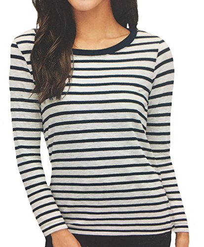 Splendid Women's Long Sleeve Shirt, Large, White/Navy Stripes