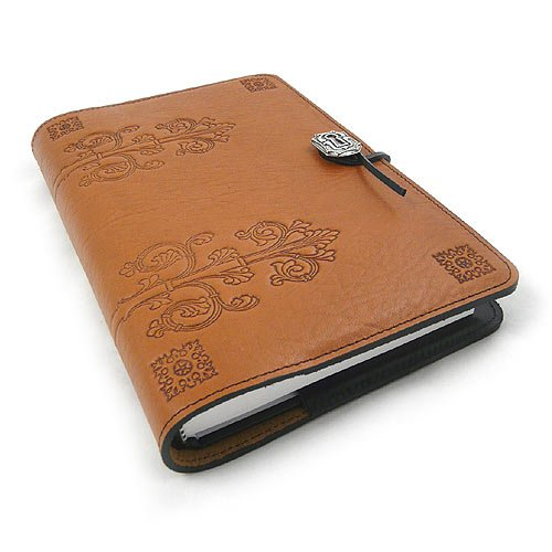 Modern Artisans Da Vinci American Made Embossed Leather Writing Journal Cover, 6 x 9-inch + Refillable Hardbound Insert Book