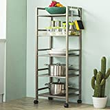 Multi-function five-storey dining car / microwave storage rack / kitchen storage cart / shelves ( Color : C )