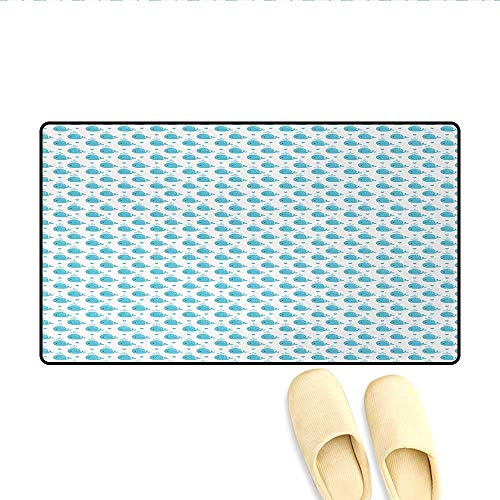 Door Mats,Little Fish Figures Squirting Water Hearts Childish Pattern for Baby and Kids,Bath Mat Non Slip,Pale Blue White,Size:20
