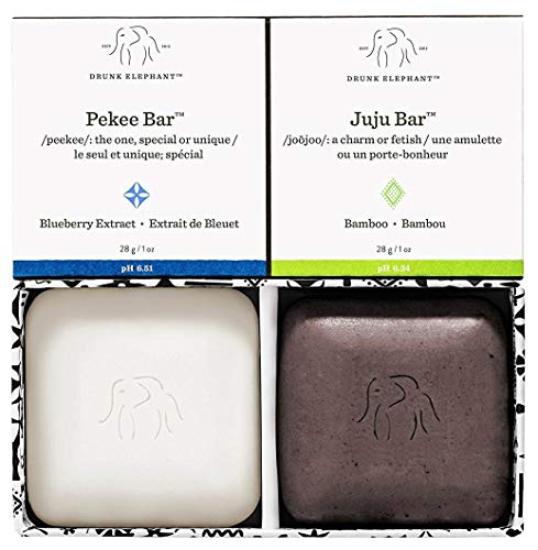 Drunk Elephant Baby Juju and Baby Pekee Bar Soap Travel Case. Exfoliating Face Wash and Moisturizing Bar Cleansers. (1 ounce each) (Travel Duo)