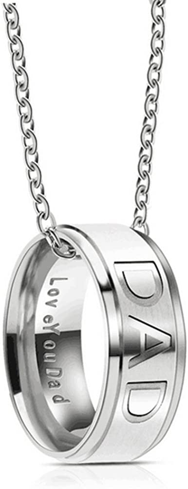 Silove Love You Dad Mom Stainless Steel Necklace for Men Women Dad Birthday Gifts Jewelry